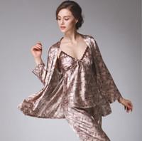 satin unterwäsche für frauen großhandel-Frauen Pyjamas Herbst volle Hülse Nachtwäsche Satin Silk Hosen Pyjama Sets Frauen 3 Stück Set Unterwäsche Sexy Nachtwäsche