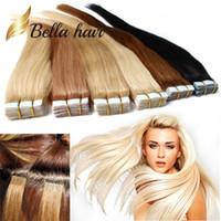 уток для волос оптовых-PU кожи утка ленты в наращивание волос 14 ~ 24 дюймов 100% бразильский человеческих волос 2.5 г / кусок 40 шт. / компл. Julienchina Bellahair Бесплатная доставка