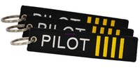 Wholesale Pilot Keys - 30 PCS LOT Flight Pilot phone Key Chain Jewelry Safety Tag Embroidery Pilot Key Ring Chain for Aviation Gifts Luggage Tag