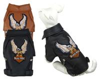 traje de perro de cuero al por mayor-Pequeño / Medio perro mascota de lujo chaqueta de cuero abrigos para perro otoño / invierno águila Chihuahua perro gato cachorro chaleco ropa traje