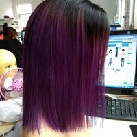 Wholesale colors for ombre hair resale online - 150 density Brazilian Hair short Bob Straight ombre B Violet Lace Front Wigs around Baby Hair Pre Plucked natural hairline For black Women