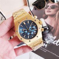 часы нержавеющие 1шт оптовых-Все Subdials работа AAA мужские часы из нержавеющей стали кварцевые золотые наручные часы секундомер роскошные часы синий Dail relogies бесплатная доставка 1 шт.