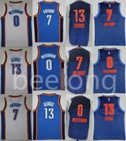 Wholesale George Shirts - Top quality Mens 0 Russell Westbrook Jersey 7 Carmelo Anthony 13 Paul George 2017-18 New Basketball Jerseys 100% Stitched Embroidery Shirts