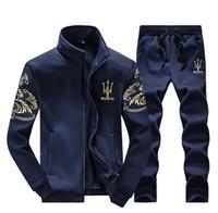 ingrosso giacche a molla lunghe-Tuta sportiva di lusso Maserati Sportwear primavera autunno maniche lunghe giacche casual con pantaloni casual jogger Homme felpe