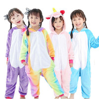 Wholesale Kigurumi Kids Sleepwear - Kids Panda Onesie Flannel Kigurumi Pajamas Cartoon Boys Girls Winter Jumpsuit Children Cosplay Animals Pyjama Overalls Sleepwear