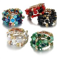 Wholesale chakra gemstone set - Wholesales 21cm Girth Faux Turquoise Gemstone Chakra Natural Stones Charm Bracelets Retro Beaded Alloy Bracelets for Women