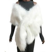 ingrosso poncho di pelliccia bianca-Inverno Donna Faux Fur Coat Poncho Capes abito da sposa da sposa avvolge gilet soffici cappotti scialle capo nero bianco rosa