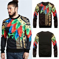 ingrosso pullover uomo 3d-Paris Top Design Golden Catins Feathers Leaves Pollover Felpe Uomo Donna Tshirt manica lunga Medusa Cool 3D Floral Print Felpe Top