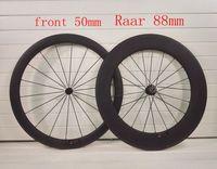 portabicicletas de fibra de carbono al por mayor-2018 T1000 UD fibra de carbono 700C delantera 50 mm Traseras 88 mm de profundidad ruedas de carretera de carbono estante bicicleta juego de ruedas bicicleta taiwan eisen fábrica