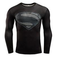 ropa adolescente al por mayor-Camisetas para hombre de la aptitud de la moda 3D Teen Wolf camisa de compresión de manga larga hombre culturismo Crossfit ropa C10