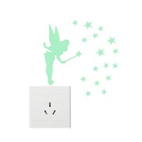 Wholesale glow dark glitter for sale - Glow in Dark Stars Fairy Glitter Wing Acrylic Decal Sit Tinker Bell Fluorescent Luminous Switch Wall Stickers Home Decoration