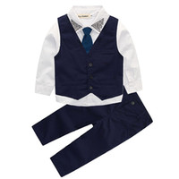 Wholesale spring vest for baby boy for sale - Group buy Autumn children s leisure clothing sets kids baby boy suit vest gentleman clothes for weddings formal clothing