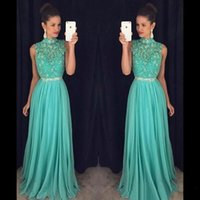 Wholesale long aqua beaded prom dress - 2018 Hot Sell Aqua Green Beaded Prom Dresses A Line Halter Neck Sequined Beaded Sash Long Evening Gowns Formal Pageant Party Wears BA7556