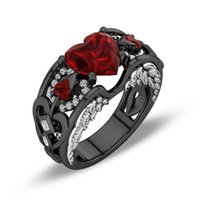 Wholesale Diamond Red Ruby Ring - Sparkling New Arrival Retro Jewelry 10KT Black Gold Filled Heart Shape Red Ruby Gemstones CZ Diamond Party Wing Women Wedding Band Ring Gift