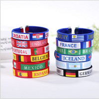 Wholesale Flag Rings - 2018 Russia World Cup silicone bracelets with national flags sports Wristband Football Fans Hand Ring wrist strap Band Bangle Souvenir Gift