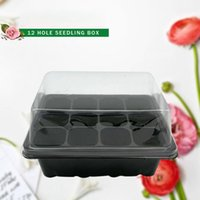 Wholesale Garden Potting Tray - New Hot Nursery Pot Plant Germination Grow Box 12 Cell Black Propagation Tray Garden Supplies free shipping