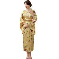vestidos de seda japoneses al por mayor-Mujeres japonesas tradicionales Rayón de seda Kimono Vintage Yukata con Obi Performance Dance Dress Disfraz de Halloween One Size HL04