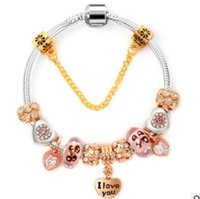 ingrosso braccialetti d'amore in rilievo di colore-gioielli di lusso Designer bracciali gioielli per le donne cuore color oro Ti amo braccialetti di perline ciondolo braccialetti moda caldo