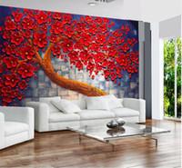 gemälde rote hintergründe großhandel-Benutzerdefinierte Wallpaper Home Dekorative Wandbilder Rote Blumen machen Geld Baum Ölgemälde TV Sofa Hintergrund Wall 3d wallpaper
