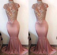 ingrosso abiti da sera arabi per le donne-Arabo Mermaid Prom Dresses Prom Dresses 2018 Collo alto senza maniche in rilievo di pizzo Appliqued Satin Prom Gown Donna Evening Party Dress BA4598