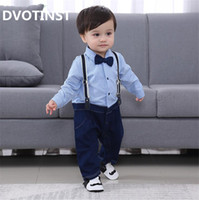 785d225081b0d Dvotinst Baby Boy Clothes Full Sleeves Gentleman Bow Tie Romper Outfit Bib Pants  Infant Toddler Wedding Jumpsuit Birthday