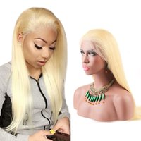 Wholesale blond human hair lace wigs - Blond Full Lace Wigs Brazilian Virgin Hair Wigs for Black Women Medium Cap Silky Straight Human Hair Lace Wigs Transparent Lace