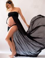Wholesale mother asymmetrical dress - Solid Mother Maxi Dress Women Sleeveless Strapless Spilt Dress Chiseled Chiffon Long Light Dress For Photo Shoot