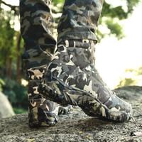 ordu ayak bileği botları toptan satış-Erkek Askeri Taktik Çizmeler Savaş Ordu Açık Yürüyüş Ayakkabıları Seyahat Kamp Botas Kamuflaj Trekking Ayakkabı Ayak Bileği Çizmeler