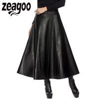 Wholesale black faux leather pleated skirt - Zeagoo Autumn Winter Women Skirt Fashion PU Leather Solid Long Skirt High Waist Pleated Swing Vintage Maxi Saias XXL