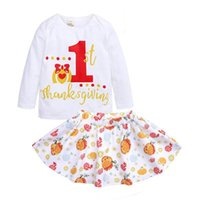 Wholesale Thanksgiving Halloween Baby Outfit Girl letter print Long sleeve tops skirt Set Kids Spring Autumn Clothing Set