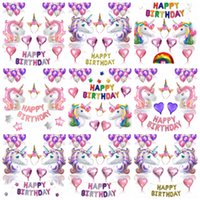 ingrosso decorazione in lattice-9styles Unicorn Party Foil Balloons Set Palloncino Buon compleanno Banner Party Decor Matrimonio Natale Latex Decor Palloncini Forniture FFA864