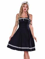 traje de látex azul venda por atacado-Marinheiro Traje Para As Mulheres-1950 das Mulheres Halter Azul Marinho Do Vintage Vestido Pinup Retro Sexy Marinheiro Traje