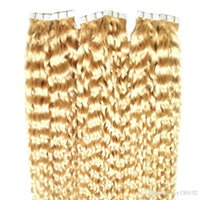 Wholesale curl blonde human hair for sale - Group buy Tape In Human Hair Extension Blonde Deep Curl Inches Skin Weft Hair Salon Style pac