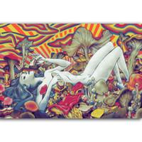 ingrosso disegni paesaggistici moderni-G323 Trippy Girl Beauty Fungo Art Poster Silk Light Tela pittura stampa Poster Home Decor parete