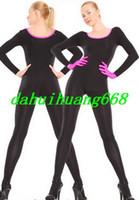сексуальные розовые перчатки оптовых-Сексуальный черный/розовый лайкра спандекс Костюм комбинезон костюмы унисекс боди наряд унисекс сексуальный костюм косплей костюмы с розовыми перчатками DH120
