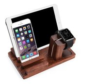 Wholesale wooden tablet stand resale online - New Eco friendly Universal Wood Holder Stand For Mobile Phone and Watch Tablet Holders Desktop Origaniser Wooden Bamboo Charger Dock Station