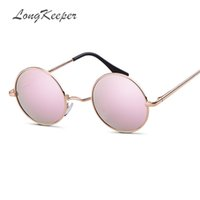 солнцезащитные очки с круговой поляризацией оптовых-LongKeeper 2019 Burst metal circular polarized sunglasses men and women personality metal frame Mirror gafas de slo UV400