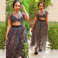 177819f6a Colored Dot Print Sexy 2 Piece Dress Summer O Neck Short Sleeve Crop Top  And See Through Mesh Maxi Skirts Lady Party Suits