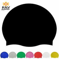 Wholesale ear protector hats - Waterproof Silicone Long Hair Swimming Caps For Adult High Elastic Adjustable Swim Pool Cap Ear Protector Hat Cover