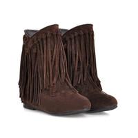 tornozelo plano camurça botas borlas venda por atacado-Moda inverno mulheres ankle boots borla botas de couro nubuck senhoras plana dedo do pé redondo botas curtas para as mulheres zx888