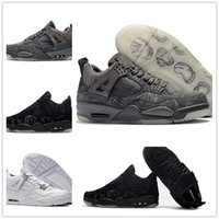 Wholesale money cool - KAWS x 4 Mens Cool Grey Glow Basketball Shoes Kaws XX Black High Quality Pure Money White Sports Sneakers Outdoor Athletics Shoes with box