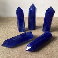 Wholesale feng shui wealth - Length:80mm Blue Crystal Point Melting Stone Pointed Quartz Blue Crystal Wand Obelisk Six edge Point Crystal Healing