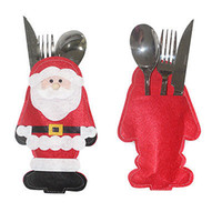 Wholesale cloth bags candles - Santa Claus Christmas Cutlery Holder Bags Fork Spoon Pockets Decor snowman Silverware Holders ornaments tables new year Home