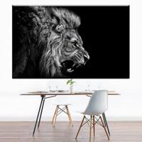 ingrosso arte olio bianco nero-1 pannello nero bianco stampe su tela arte leone ruggente tela pittura a olio di arte immagini a parete per la decorazione domestica stampe di arte della parete No Frame