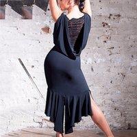 ingrosso moda latina vestito-Gli ultimi abiti da ballo latino per le signore i colori neri senza maniche gonne resistenti porta le donne moderne abiti da ballo mode mode B013