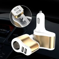 Wholesale brand cigars - 5V2A dual USB cigar car charger multifunctional intelligent vehicle charging mobile phone charger free shipping high quality