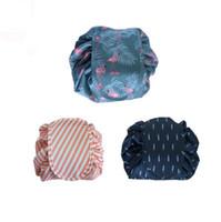 Wholesale drawstring bag trend - Drawstring cosmetic bag Flamingo storage bag oxford lazy cosmetic bag big capacity travel pouch trend 3 designs DHT363