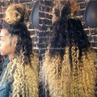 perruque synthétique avec dentelle crépue achat en gros de-Perruque pas cher Afro Kinky Curl 1B / 613 # Noir Root Ombre Blonde
