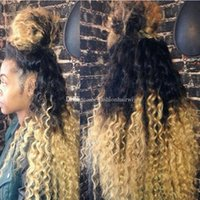 Wholesale kinky curl hair ombre online - Synthetic lace front wig Cheap Wigs Afro Kinky Curl B Black Root Ombre Blonde Synthetic kinky curly Hair Wig for Black Women