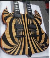 sg gitarre benutzerdefinierte schwarz großhandel-Individuelles Wylde Audio Barbar 12 6 Saiten Double Neck Gloss Black Behemoth SG E-Gitarre Copy EMG Pickups, schwarze Hardware